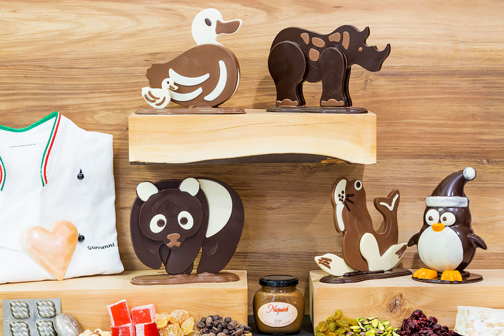 "A variety of our hand made chocolate animals ""choco gang""."