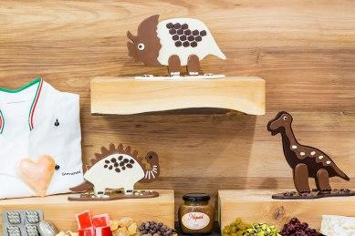 Three chocolate dinosaurs.