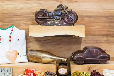 Chocolate motorbikes and cars in our chocolate garage.
