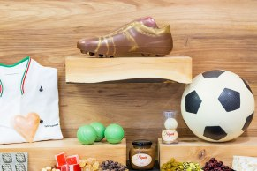Soccer ball, soccer boot, tennis and golf enthusiasts.