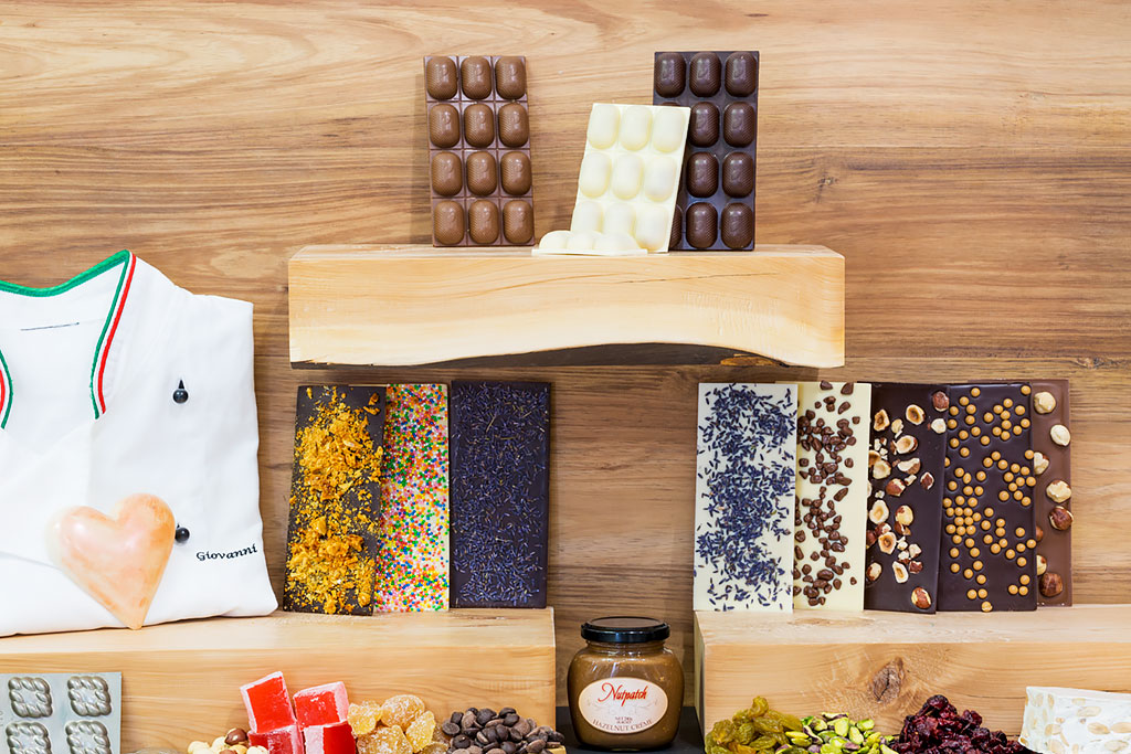 Some of our range of chocolate covered bars available in white, milk and dark couverture chocolate.